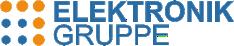 Logo aus dunkelblauem Schriftzug ELEKTRONIK GRUPPE und dunkelblauen und orangen Punkten
