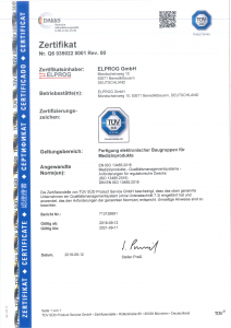 Vorschaubild des TÜV-Zertifikats ISO13485:2016 ausgestellt für Elprog