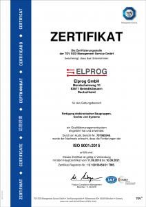 Vorschaubild des TÜV-Zertifikats ISO 9001:2015 ausgestellt für Elprog
