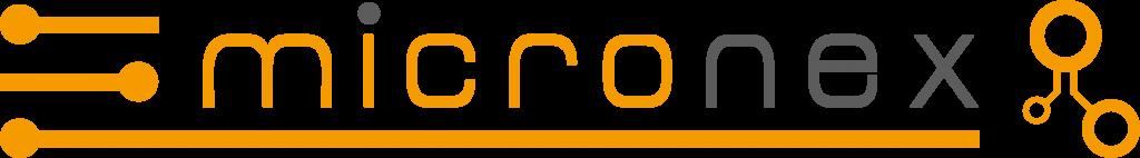 Logo aus gelb-grauem Schriftzug micronex und gelben Akzenten